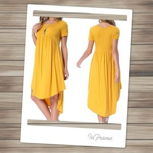 Big Swing Yellow Cotton Dress with Pockets